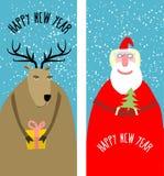 Fije las tarjetas de Navidad del saludo Santa Claus con árbol de navidad AG Imagen de archivo