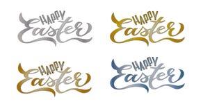 4 fije las tarjetas de pascua felices: Letras manuscritas libre illustration