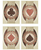 Fije las tarjetas del póker del casino en estilo del vintage Imagen de archivo