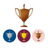 Fije a las tazas de los iconos de ganador, taza del trofeo del icono Foto de archivo
