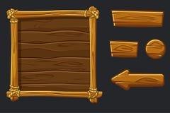 Fije los activos, el interfaz y los botones de madera de la historieta para el juego de Ui ilustración del vector