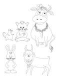 Fije los animales de la historieta, esquema Foto de archivo