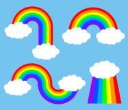 Fije los arco iris con las nubes - stock de ilustración