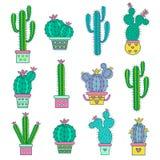 Fije los cactus abstractos dibujados mano Fotos de archivo libres de regalías