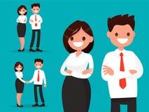 Fije los caracteres de la oficina Los pares del negocio juntos y sacuden las manos Libre Illustration