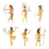 Fije los caracteres en estilo de la historieta Indios americanos tradicionales stock de ilustración