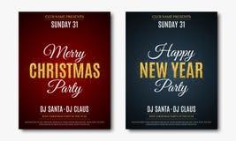 Fije los carteles para el partido de la Navidad y del Año Nuevo Tarjeta _1 de la invitación El texto se hace de brillos del oro F stock de ilustración