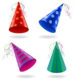 Fije los casquillos de los iconos para el ejemplo del vector de las celebraciones del cumpleaños stock de ilustración