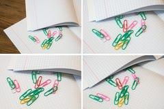 Fije los clips de papel y la hoja del cuaderno Fotos de archivo libres de regalías