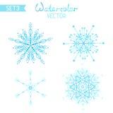 Fije los copos de nieve del watercolour del OS Foto de archivo libre de regalías