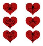 Fije los corazones con el ornamento floral adentro stock de ilustración