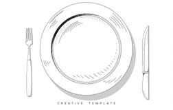 Fije los cubiertos del bosquejo Placa, fork y cuchillo Plantilla para la presentación Imagenes de archivo