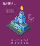 Fije los diagramas isométricos de los iconos del edificio del negocio stock de ilustración