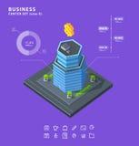 Fije los diagramas isométricos de los iconos del edificio del negocio ilustración del vector
