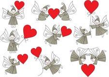 Fije los duendes con los corazones Imagen de archivo libre de regalías