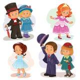 Fije los ejemplos del clip art con los niños jovenes en trajes históricos stock de ilustración