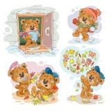 Fije los ejemplos del clip art del vector de los osos de peluche divertidos Fotos de archivo libres de regalías