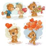 Fije los ejemplos del clip art del vector de los osos de peluche enamorados Imágenes de archivo libres de regalías