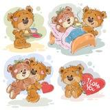 Fije los ejemplos del clip art del vector de los osos de peluche enamorados Foto de archivo libre de regalías