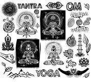 Fije los elementos de la yoga del vector Foto de archivo libre de regalías