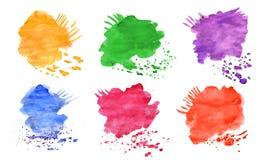 Fije los elementos del agua-color para el diseño Foto de archivo libre de regalías