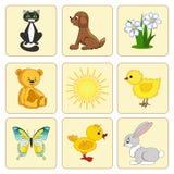Fije los elementos del bebé. Animales del bebé. Imagenes de archivo