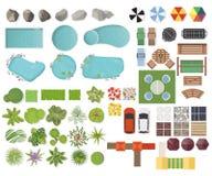 Fije los elementos del paisaje, visión superior Jardín, árbol, lago, piscinas, banco, tabla Ajardinar símbolos, aislador determin