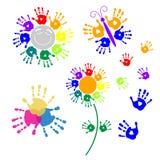 Fije los elementos para el diseño de handprints Fotografía de archivo