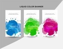 Fije los fondos abstractos modernos del vector de la bandera Formas líquidas geométricas planas con diversos colores Plantillas m stock de ilustración