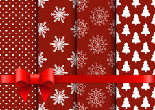 Fije los fondos inconsútiles rojos del vector de la Navidad Imágenes de archivo libres de regalías