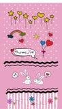 Fije los garabatos de las tarjetas del día de San Valentín - porciones de elementos lindos del diseño - vector ilustración del vector