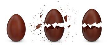 Fije los huevos del eester del chocolate dulce, huevos se agrietó en muchos pedazos aislados en un fondo blanco Huevo de Pascua d ilustración del vector