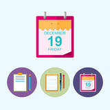 Fije los iconos con el tablero, cuaderno, hoja del calendario, ejemplo del vector Fotografía de archivo libre de regalías