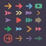 Fije los iconos de la flecha, tendencia plana del diseño de UI Fotos de archivo