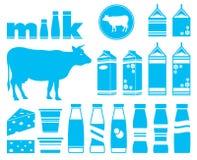 Fije los iconos de la leche Imagen de archivo libre de regalías