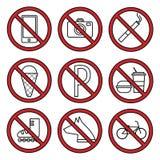 Fije los iconos de la prohibición Imagen de archivo libre de regalías