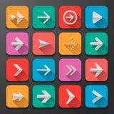 Fije los iconos de las flechas, tendencia plana del diseño de UI Foto de archivo