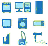 Fije los iconos de los aparatos electrodomésticos Imágenes de archivo libres de regalías