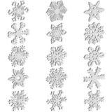 Fije los iconos de los copos de nieve en el fondo blanco, ejemplo del vector Fotos de archivo libres de regalías