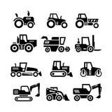 Fije los iconos de tractores, de la granja y de las máquinas de los edificios Fotografía de archivo libre de regalías