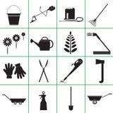 Fije los iconos de utensilios de jardinería Fotos de archivo libres de regalías