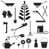 Fije los iconos de utensilios de jardinería Foto de archivo