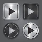 Fije los iconos del app, botón de reproducción metálico realista con Imágenes de archivo libres de regalías