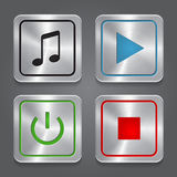 Fije los iconos del app, colle metálico de los botones del reproductor multimedia Fotos de archivo libres de regalías