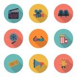 Fije los iconos del color del cine, elementos del diseño Estilo plano Fotografía de archivo libre de regalías