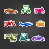 Fije los iconos del color del transporte de las etiquetas engomadas Imagen de archivo libre de regalías