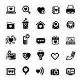 Fije los iconos del día de tarjeta del día de San Valentín, amor en el Internet Fotografía de archivo libre de regalías