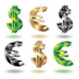 Fije los iconos del dinero. Imagen de archivo