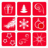 Fije los iconos del invierno. Foto de archivo