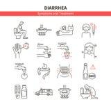 Fije los iconos del monoline de la diarrea libre illustration